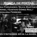 RONDA DE POETAS / jueves 3 / 21 a 24 hs. / magui FERNÁNDEZ – silvia MARTINEZ CORONEL – gustavo GÓMEZ RIAL – magdalena FERREIRO