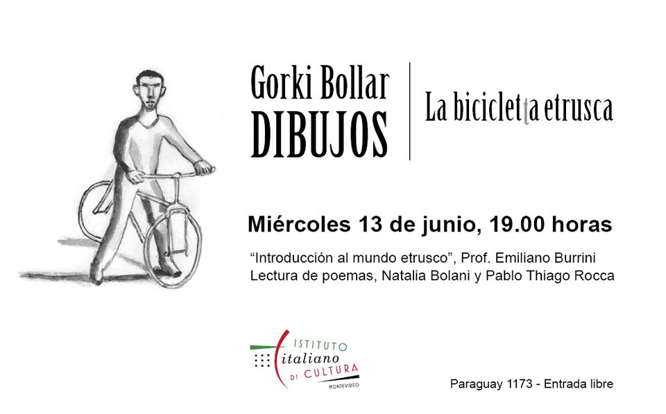 muestra de dibujos de Gorki Bollar que ilustran el libro de poemas de Pablo Thiago Rocca La bicicleta etrusca