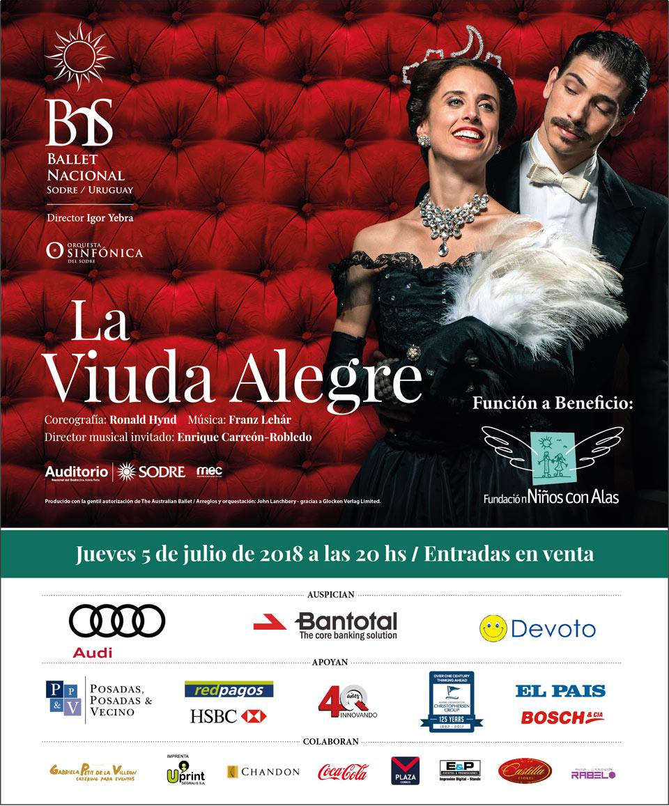 """Ballet Nacional del Sodre brindará una función del espectáculo """"La Viuda Alegre"""" a beneficio de la Fundación Niños con Alas"""