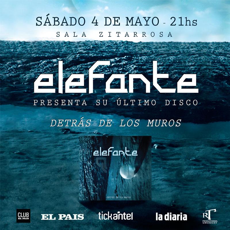 """ELEFANTE presentación oficial de ¨Detrás de los Muros¨ El sábado 4 de mayo en sala Zitarrosa Elefante presenta """"Detrás de los muros"""", su nuevo disco."""