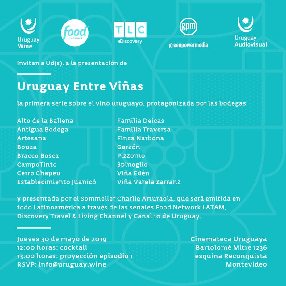 Se estrena URUGUAY ENTRE VIÑAS, la primera serie documental sobre el vino uruguayo, que será emitida por las señales Food Network LATAM y Discovery Travel & Living Channel (TLC), para luego ser transmitida a nivel nacional por Canal 10 de Uruguay.