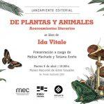 """Presentación del libro de Ida Vitale """"De plantas y animales: acercamientos literarios"""""""