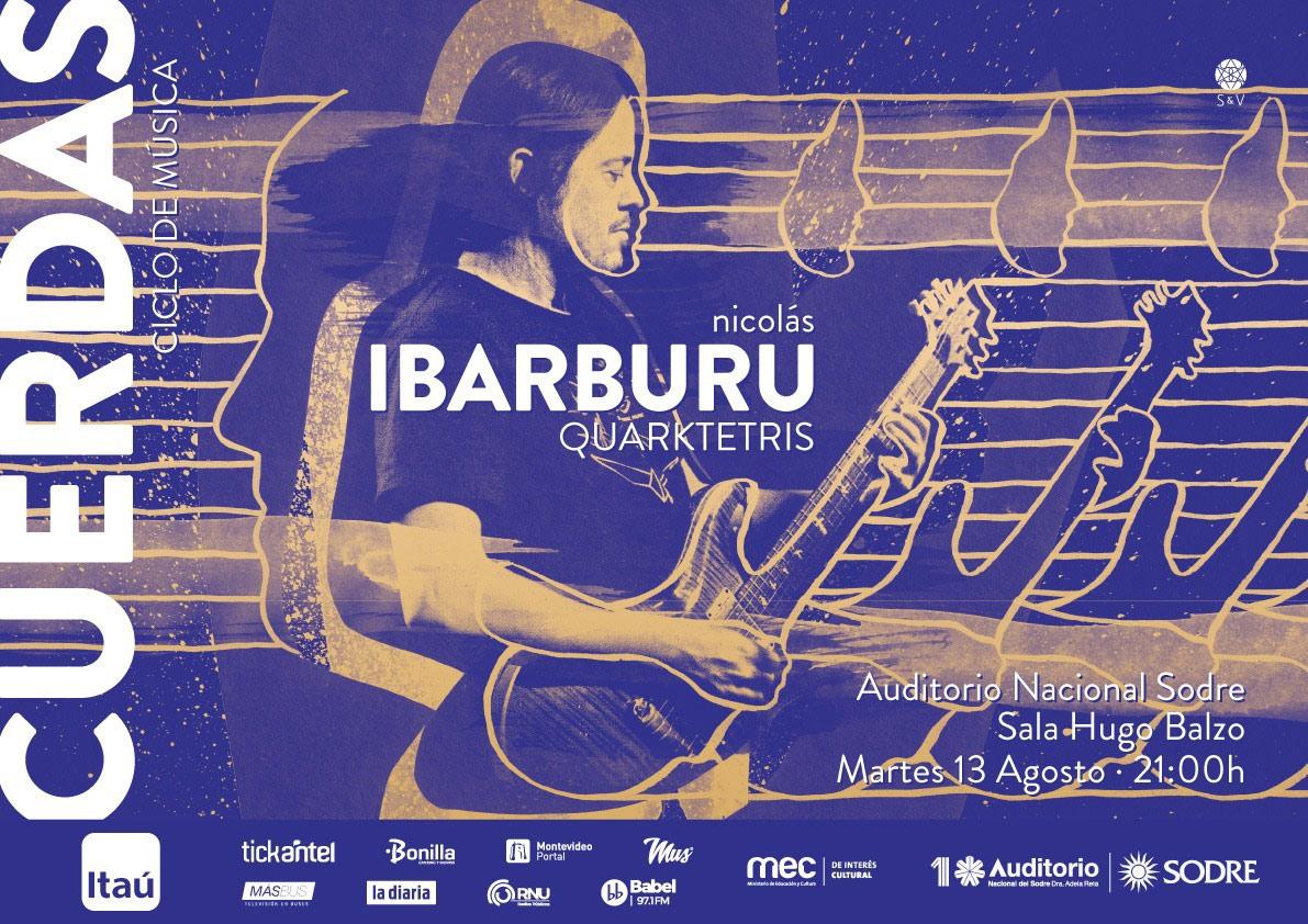 """Presentando canciones de """"Anfibio""""; """"Casa Rodante"""" y adelantando su próximo trabajo junto a Martín Ibarburu, Manuel Contrera y Fernando Vera canciones de su autoría que unen el candombe, el funk y el jazz. CICLO CUERDAS 2019 NICO IBARBURU - QUARKTETRIS"""