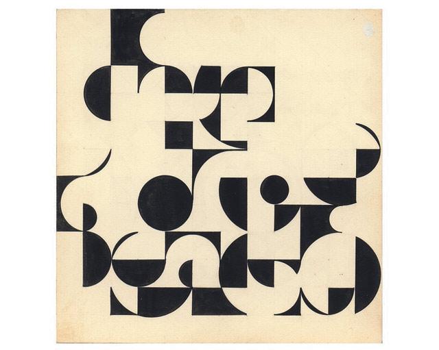"""Julio-Le-Parc-""""De´veloppements-de-cercles-et-carre´s""""-1958-tinta-sobre-carto´n-24-x-24-cm.-Atelier-Le-Parc."""