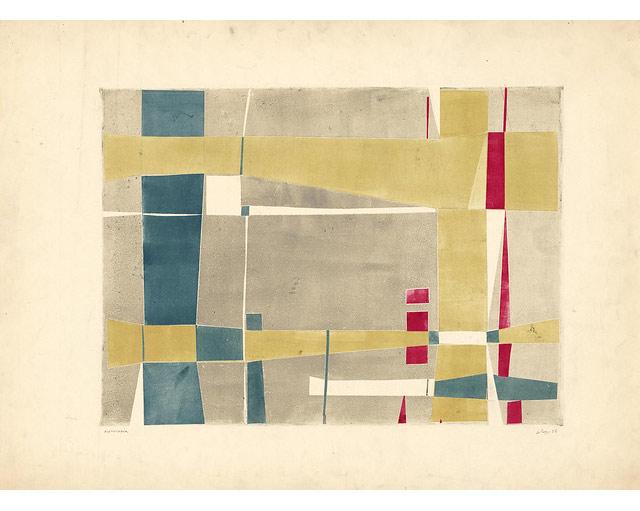 """Julio-Le-Parc-""""Papelismo-5""""-1957-monocopia-55-x-75-cm-estampa-39-x-54-cm.-Atelier-Le-Parc."""