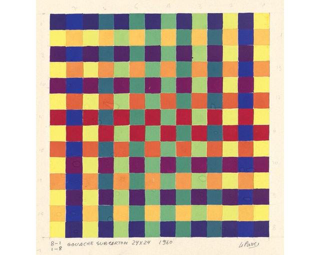 "ulio-Le-Parc-""8-11-8""-1960-acuarela-sobre-carto´n-24-x-24-cm.-Atelier-Le-Parc."