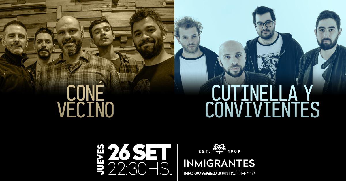 Una nueva presentación de Santy Cutinella y los Convivientes, esta vez compartida con Coné Vecino en el boliche de la calle Juan Paullier 1252.