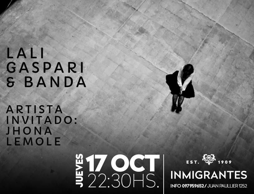 Lali Gaspari y su banda se presentan en Inmigrantes junto a Jhona Lemole