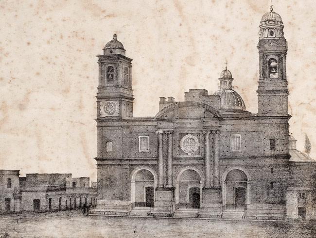 Iglesia Matriz, desde el Cabildo de Montevideo. Primera fotografía realizada en Uruguay - febrero 1840 (*)