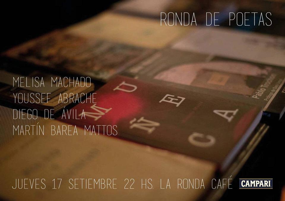 RONDA DE POETAS / jueves 17 / melisa MACHADO - diego DE AVILA - youssef ABRACHE - MBM