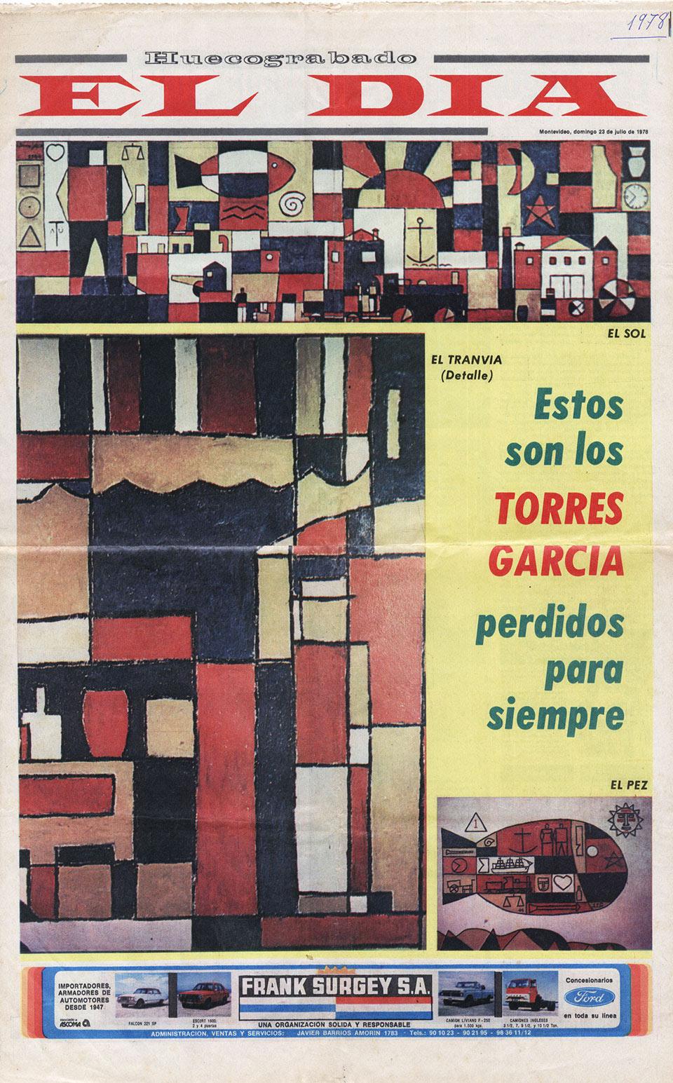 """Diario """"El Día"""" de Montevideo 23 de julio de 1978"""