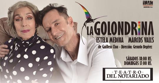 Dirección: Gerardo Begérez Elenco: Estela Medina y Marcos Valls Va los sábados a las 18 hrs y domingos a las 17 hrs. en Teatro del Notariado
