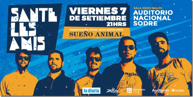 Sante Les Amis presenta su nuevo disco en la Sala Hugo Balzo del Auditorio del Sodre.. Para esta ocasión destacamos la atractiva incorporación de múltiples ritmos latinoamericanos, que fusionados con sus variadas influencias – desde el indie rock, punk, new wave – generan una composición muy particular que invita a bailar