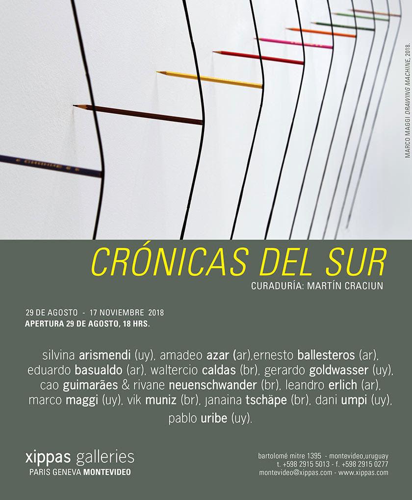 Xippas Montevideo se complace en presentar Crónicas del Sur, una exposición grupal con 14 destacados artistas contemporáneos de Argentina, Brasil y Uruguay.