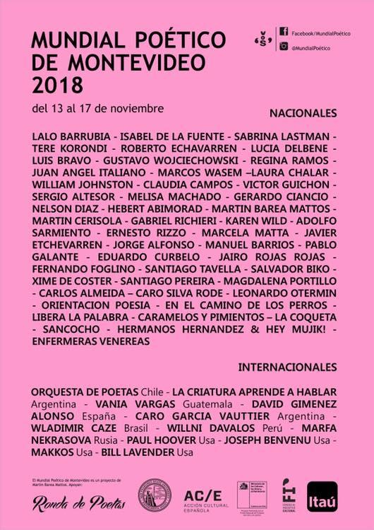 Mundial Poético de Montevideo 2018 presenta la nómina de poetas y proyectos nacionales protagonistas de esta cuarta edición