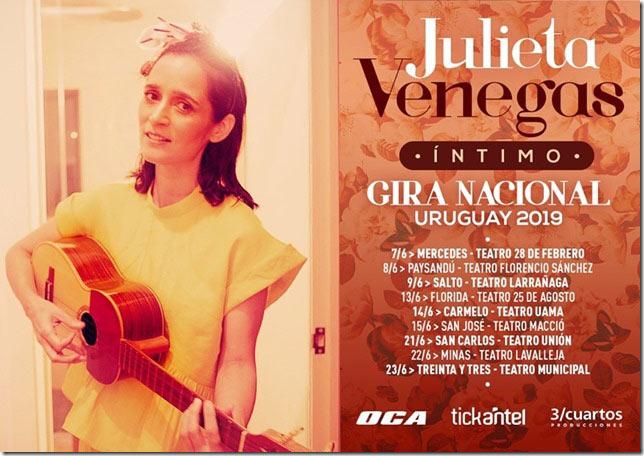 A partir del 7 de junio, Julieta Venegas se embarcará en una gira por el interior del país con una serie de presentaciones íntimas, finalizando la gira en Montevideo en el mes de diciembre en el mítico Teatro Solís.