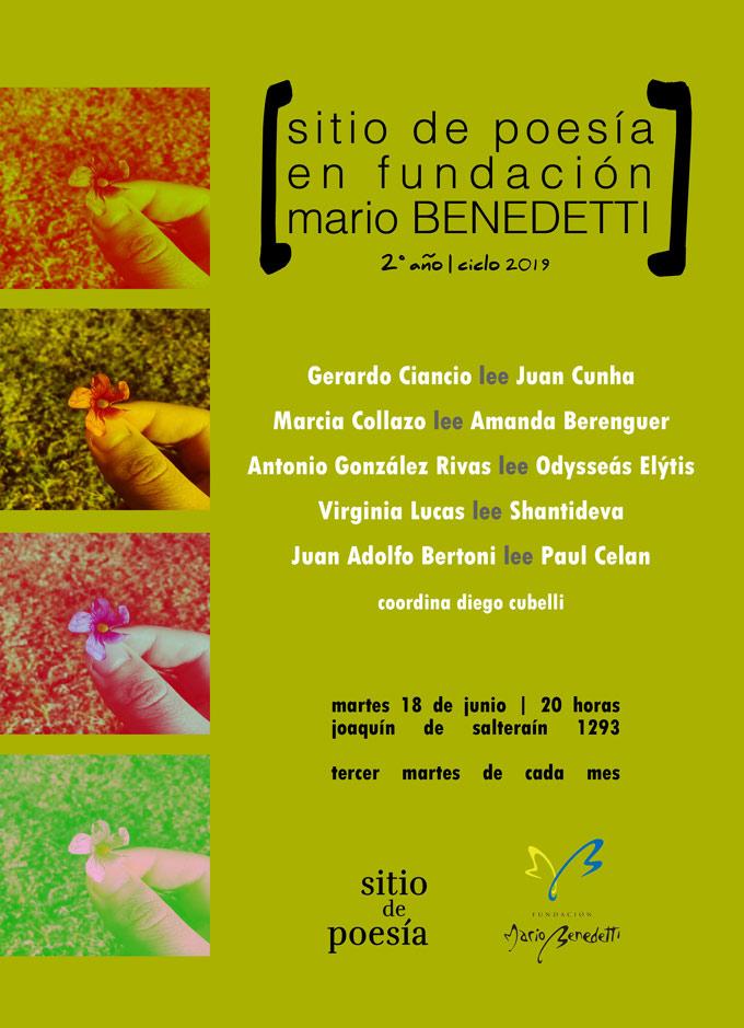 Tercera entrega del segundo año de sitio de poesía en Fundación Mario Benedetti Martes 18 de junio | 20 horas Joaquín de Salterain 1293 esq. Guaná