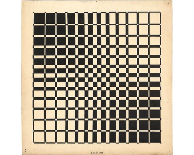 """Julio-Le-Parc-""""Se´quences-progressives-ambivalentes""""-1959-tinta-sobre-carto´n-26-x-26-cm.-Atelier-Le-Parc."""