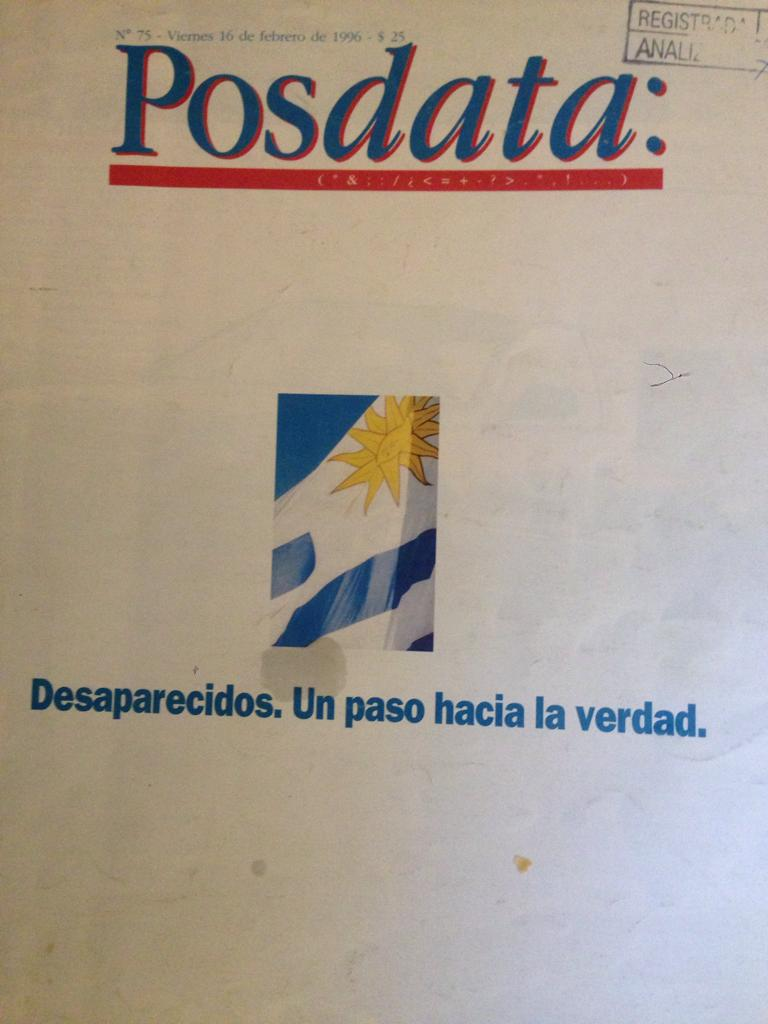 Tapa revista posdata numero 75 viernes 16 de febrero de 1996 - desaparecidos. Un paso hacia la verdad
