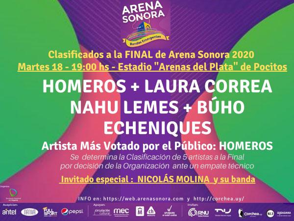 """ARENA SONORA Edición 2020 - Estadio """"Arenas del Plata"""" - Pocitos Jornada FINAL - martes 18 de febrero - 19:00 hs"""