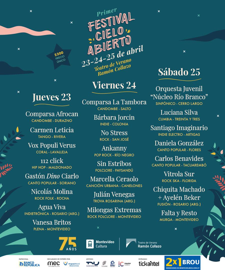 El Teatro de Verano Ramón Collazo cierra los festejos de sus 75 años con el Primer Festival Cielo abierto