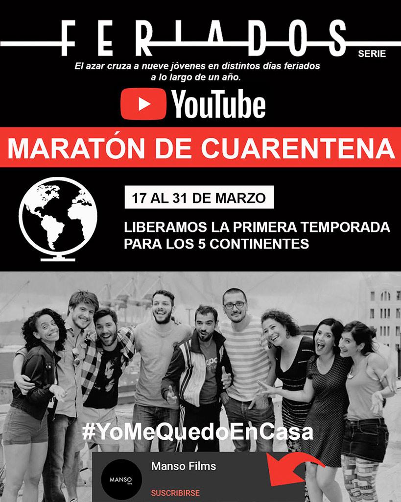 LIBERAMOS LA PRIMER TEMPORADA a partir de HOY 17 de Marzo para los 5 continentes. Serie FERIADOS :::: Disponible en YouTube desde el 17 al 31 de marzo 2020 ::: Maratón de Cuarentena #yomequedoencasa