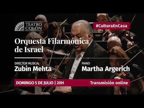 """Este domingo 5 a las 20 horas se podrá disfrutar en """"Colón en Casa"""" del concierto de la Orquesta Filarmónica de Israel, dirigida por el maestroZubin Mehta y con la pianista Martha Argerich, como solista."""