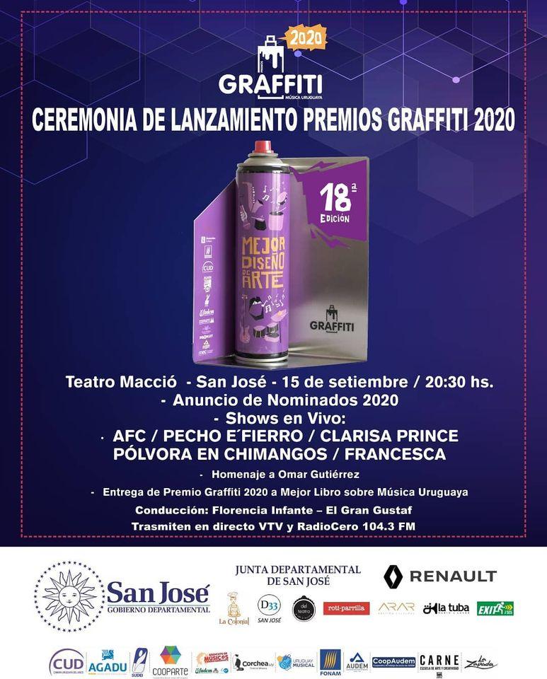 El 15 de setiembre desde las 20.30 vuelve la música al Teatro Macció de San José Decimoctava edición de #PremiosGraffiti Anunciamos los Nominados a los #PremiosGraffiti2020 Homenajeamos a Omar Gutiérrez y entregamos el #Graffiti a Mejor Libro sobre Música Uruguaya