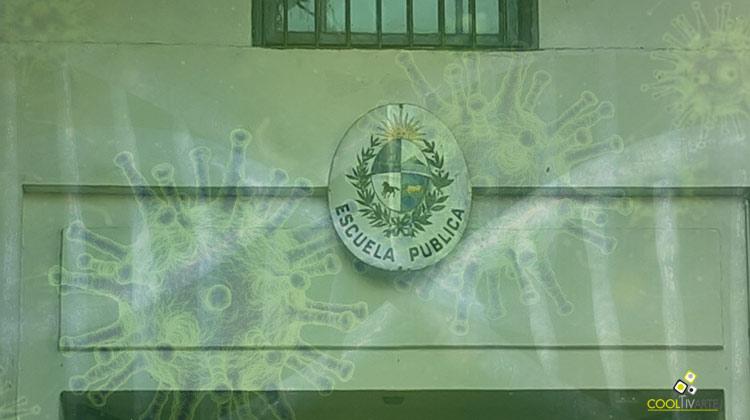 escudo escuela pública con coronavirus