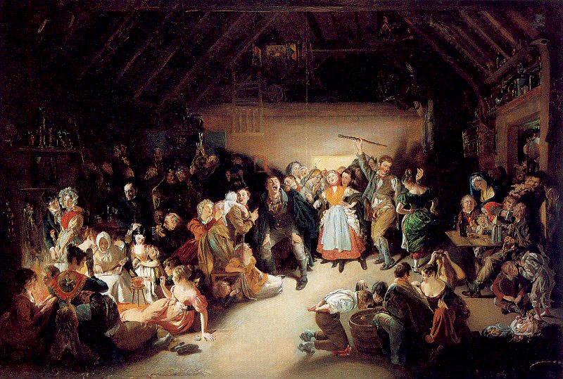 Noche de morder manzanas, por el artista irlandés Daniel Maclise, 1833. Se inspira en una fiesta de Halloween a la que asistió en Blarney, Irlanda, en 1832.