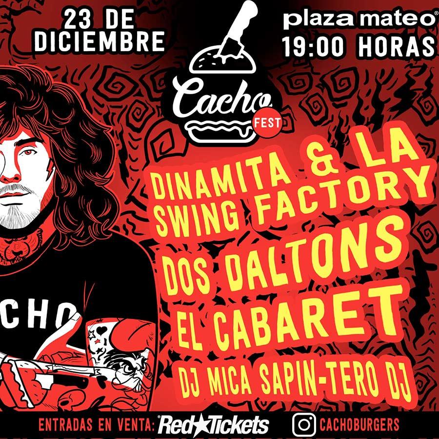 El 23 de diciembre cerramos el año en Paza Mateo con la primera edición de CACHO FEST, burgers y rock and roll. Con todas las medidas de seguridad previstas en los protocolos para disfrutar de la música en vivo el contexto actual, el próximo miércoles 23 de diciembre de 19:00 a 24:00 hs tendrá lugar la primera edición de Cacho Fest, un festival para toda la familia con DJs y bandas en vivo, junto a la tradicional propuesta gastronómica de Cacho Burgers & Co.