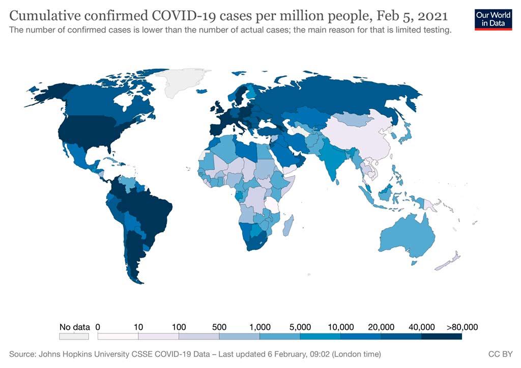 Total de casos confirmados de COVID-19 por millones de personas